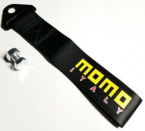 1x Black Jdm Momo Racing Drift Rally Car Tow Towing Strap Belt Hook Universal