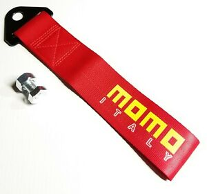 1x Red Jdm Momo Racing Drift Rally Car Tow Towing Strap Belt Hook Universal