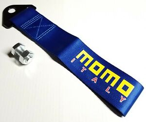 1x Blue Jdm Momo Racing Drift Rally Car Tow Towing Strap Belt Hook Universal