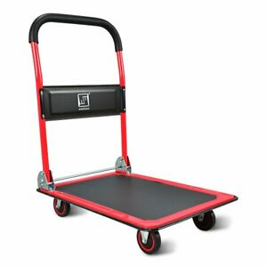 Push Cart Dolly By Wellmax Functional Moving Platform Hand Truck Red Colour