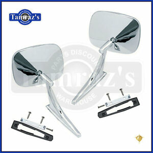 Chevy Chrome Rectangular Rear View Smooth Base Door Side Mirror