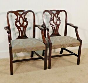 Pair Baker Furniture Silk Damask Mahogany Museum Chippendale Arm Chairs
