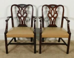 Pair Baker Furniture Leather Mahogany Museum Chippendale Arm Chairs 1