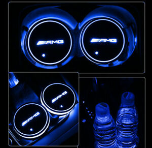 2x Led Car Cup Holder Pad Mat Amg For Mercedes Benz Interior Atmosphere Lights