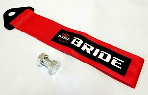 1x Red Jdm Bride Racing Drift Rally Car Tow Towing Strap Belt Hook Universal