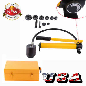 15 Ton 10 Dies Hydraulic Knockout Punch Driver Kit Hand Pump Hole Case Tool Usa