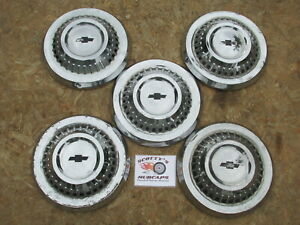 1964 Chevy Impala Poverty Dog Dish Hubcaps Lot Of 5 Extremely Rare