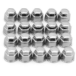 17mm Universal Wheel Cap Lug Nuts Bolts Covers Chrome Plastic Replacement