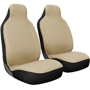 Seat Cover Set Front Integrated Bucket For Car Truck Suv Flat Cloth 2pc Beige