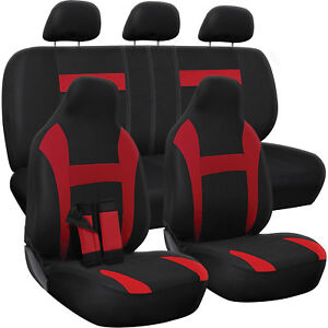 Seat Cover Complete Set For Car Truck Suv Van Flat Poly Cloth Fabric 10 Piece