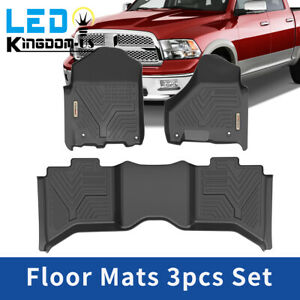 Floor Mats For 2012 2019 Ram 1500 2500 3500 Crew Cab 1st And 2nd Row All Weather