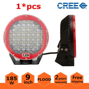 1x 9 Inch 185w Led Work Driving Lights Off Road Flood Round For Jeep 4x4 Truck