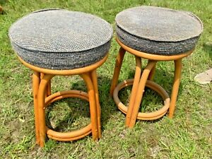Vtg Pair Kalp Son Rattan Co Mid Century Rattan Swivel Chair Bar Stools Mcm