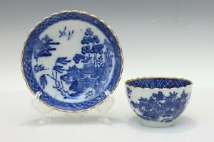 English Pearlware Blue White Chinoiserie Teacup Saucer C 1800
