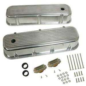 Cal Custom Valve Covers Aluminum Polished Tall Finned Chevy Big Block Pair