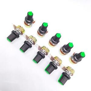 Us Stock 10units 100k B100k Ohm Linear Taper Rotary Potentiometer Pot Green Knob
