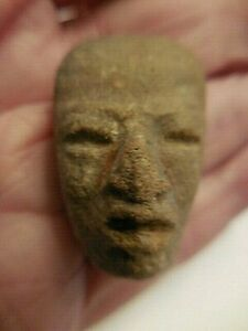 Antique Pre Columbian Carved Stone Head Face Mask 4
