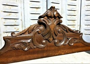 Gothic Blazon Scroll Leaves Pediment Antique French Oak Architectural Salvage