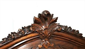 Antique French Carved Wood Flower Louis Xv Rococo Pediment Salvaged Furniture