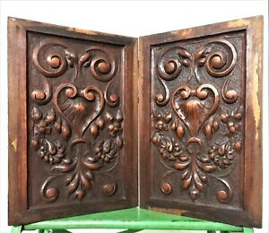 Pair Amour Love Heart Panel Antique French Wood Scroll Leaves Salvaged Paneling