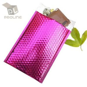250 0 Glamour Metallic Pink Poly Bubble Mailers 6 5 X 10 Extra Wide Dvd Cd