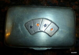 Antique Sterling Silver Signed W N D Snuff Box Playing Cards Motif