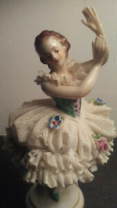 Antique Porcelain Dresden Lace Ballerina Volkstedt Germany Excellent Condition