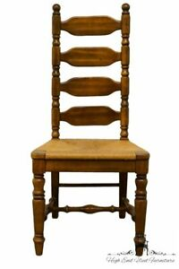 High End Rustic Country Style Ladderback Dining Side Chair W Rush Seat