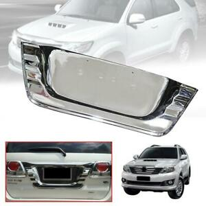 Chrome Rear License Plate Frame Cover Trim Fit Toyota Fortuner 2012 13 2014