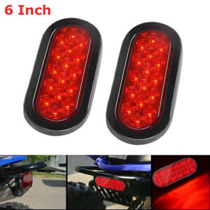 One Pair 6inch Led Trailer Truck Lights Oval Stopturn Tail Marine Tail Light