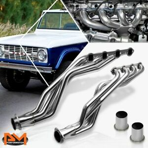 For 66 77 Ford Bronco 4 7 5 0 V8 Stainless Steel Long Tube Racing Exhaust Header