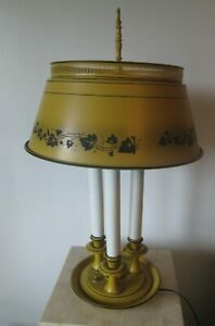 Vintage Mustard Yellow Tole Metal Triple Candlestick Bouillotte Table Lamp