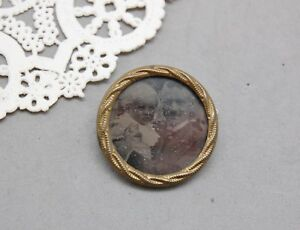 Mourning Photo Pin Antique Victorian Father Baby Child Gold Tone 1 Vintage