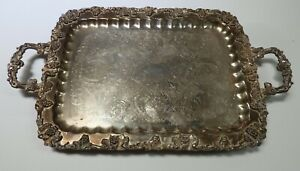 Birmingham Bsc Silverplate Footed Butler Tray Ornate Grapes 27 Vintage
