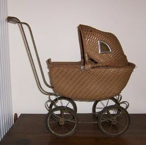 Vintage Toy Wicker Baby Doll Carriage Buggy Old Green Paint Flip Sun Shade