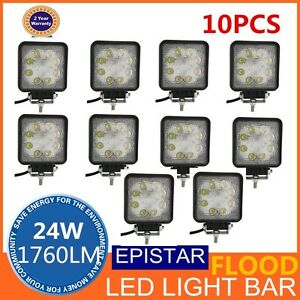 10x 24w Square Led Work Lights Off Road Driving 4wd Flood Beam 27w 48w Fog Truck