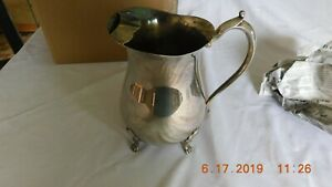 Vintage Leonard Silver Plate Footed Water Pitcher W Ice Lip