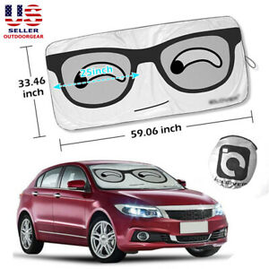 Big Smile Eyes Car Windshield Folding Front Suv Auto Truck Sun Shade Visor Cover