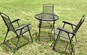 Vtg Mesh Folding Patio Garden Outdoor Table Chairs Wrought Iron Mid Century Mcm