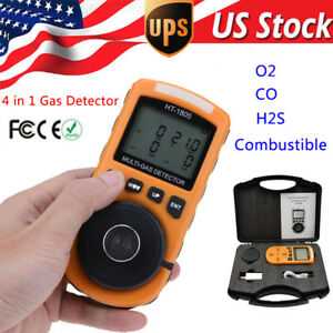 4 In 1 Gas Detector Co O2 H2s Oxygen Lel Gas Monitor Testing Analyzer Meter Set