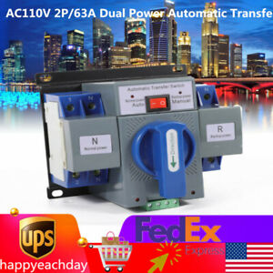 Ac110v 2p 63a Dual Power Automatic Transfer Switch Generator Changeover Switch