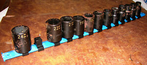 Impact Socket Set 1 2 Drive Matco 10mm 24mm With Rack