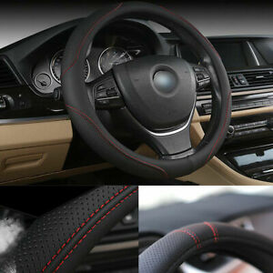 Auto Car Steering Wheel Cover 38cm 15inch Anti Slip Leather Pattern Protector