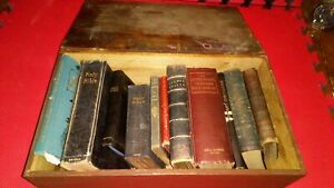 19 Th Century English Antique Boarded Bible Box With Original Bibles And Books