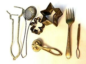 Vintage 7 Metal Primitive Tools Utensils Lot Hotong Cookie Cutters Button Hook