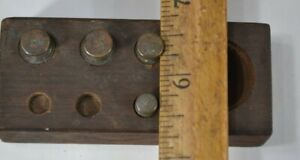 Brass Scale Weight Set Gold Tiny Stack 4 Pieces Not Complete Antique Original