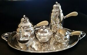 Sterling Silver Tea Coffee Set With Sterling Tray In Manner Of Georg Jensen