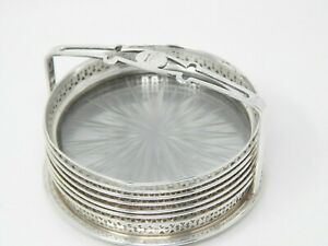 Sterling Silver Antique Cut Glass Coaster Set 6 With Caddy Carrier Holder 3 1 4