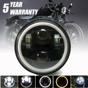 5 75 Led Motorcycle Black Headlight Motor Projector Drl Head Lamp For Sportster