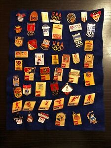 USA Olympic Pins Lot Of 48 (Budweiser, Snickers, Coca-Cola, Texaco,